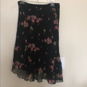 Black flowered two layered asymmetrical skirt sz L